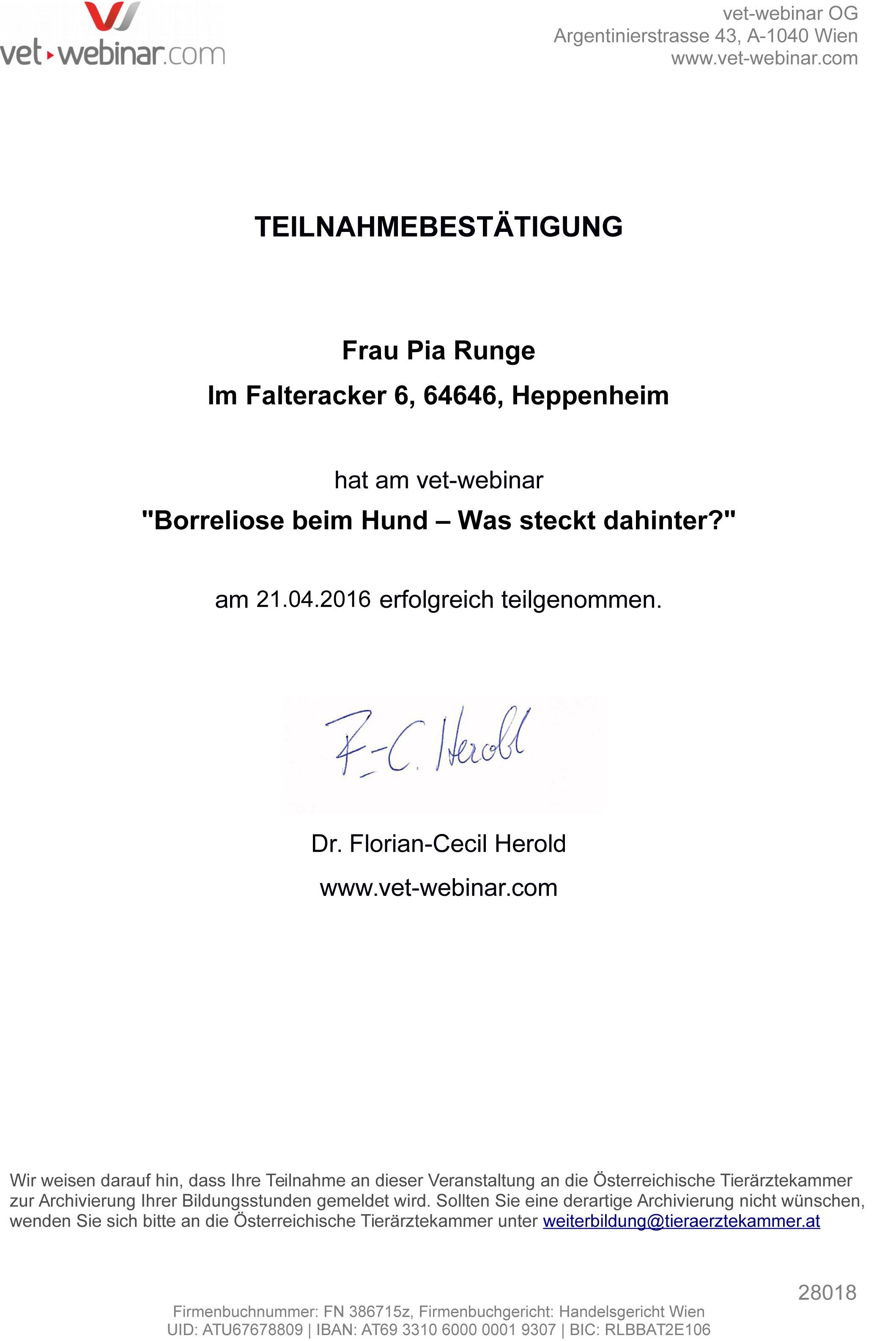 Borreliose certificate