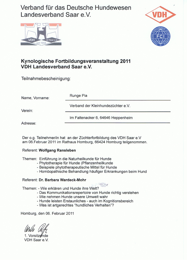 VDH Kynologische Fortbildung 2011
